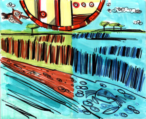 Cartoon expressionism from Stephen Myers, The Daytime Owl. Illustrated by David Le Batard.