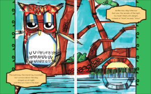 Sample 2 - 8.5x11 with full illustrations across two-page spread (with background) and text in frames.